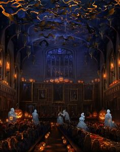 The Great Hall decorated for All Hallow's Eve