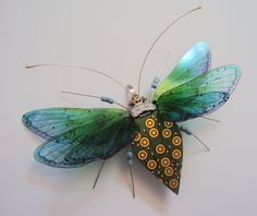 The Large and Glorious Golden Spotted, Triple Fan Winged Stunner by DewLeaf on Etsy