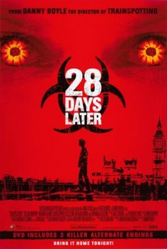 Animal activists release experimental chimpanzees infected by a virus that causes rage. Twenty-eight days later Jim wakes up from a coma, alone, in an abandoned hospital. He begins to search London for living people and finds a church inhabited by zombie like creatures intent on killing him....so he runs for his life.