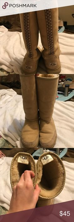 OG Tall Uggs Super cool embroidery on back. Barely worn UGG Shoes Winter & Rain Boots