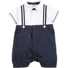 Aletta Baby Boys Navy Blue & White Shortie with Gift Box at Childrensalon.com