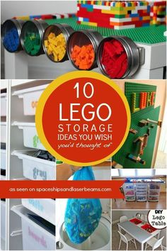 10 LEGO Storage Ideas You Wish You'd Thought Of - Spaceships and Laser Beams Do LEGOs really multiply like rabbits? Tame the beasts with these LEGO storage ideas you'll wish you had thought of sooner! Legos, Lego Storage, Storage Ideas, Kids Storage, Lego Table With Storage, Smart Storage, Storage Solutions, Ikea, Lego Room
