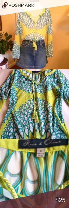 Colorful Peasant Top This is a beautiful light and airy chiffon peasant top by Rose and Olive. Size medium. Semi-sheer. Long sleeves with elastic wrists. Drawstring tassels at notched neckline. Blue and green and white. Rose and Olive Tops Blouses