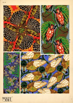 (Spot the cicadas!) Eugène Séguy – was a French entomologist who published many portfolios of illustrations and designs from the turn of the century to the who worked in both the Art Deco and Art Nouveau styles. Motifs Textiles, Textile Prints, Textile Patterns, Print Patterns, Bug Art, Art Deco Pattern, Insect Art, Guache, Motif Floral