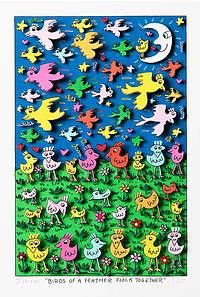 Birds of a feather flock together, James Rizzi, Original 3D Graphik Collage