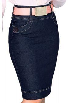 saia justa jeans escuro tachas laterais bordado etnico bolsos traseiros dyork viaevangelica frente detalhe