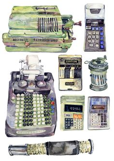 Counting Machines, by Holly Exley. Wonderful idea -- now I just have to think about how I make watercolor studies seem original and my own. :P