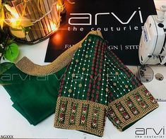 For Unstitched embroidery blouse piece.Neckline Embroidery for classy lovers Wedding Saree Blouse Designs, Pattu Saree Blouse Designs, Fancy Blouse Designs, Hand Work Blouse Design, Stylish Blouse Design, Blouse Back Neck Designs, Maggam Work Designs, Diana, Designer Blouse Patterns