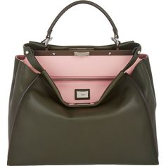 Fendi Women's Peekaboo Large Satchel (17.340 RON) ❤ liked on Polyvore featuring bags, handbags, fendi, purses, bolsas, green, dark green handbags, fendi purses, strap purse and man bag