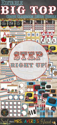 Welcome your students back to school with this editable bundle of circus themed decorations perfect for the GREATEST classroom on earth!  Teachers and students will ROAR over these back to school essentials when they enter your Big Top!  Click the link to check out these bulletin board ideas, classroom management posters, bin labels, bunting, and so much more!
