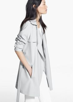 $149, Grey Trenchcoat: Mango Flowy Trench. Sold by Mango. Click for more info: http://lookastic.com/women/shop_items/182372/redirect