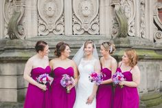 Sophia Tolli for a Sophisticated Wedding at Crewe Hall. Bridesmaids wearing dark pink dresses.  Image by Sarah Horton Photography.  Read more: http://bridesupnorth.com/2016/09/05/roses-tweed-sophia-tolli-for-a-sophisticated-wedding-at-crewe-hall-laura-luke/  #wedding #pink #bridesmaid