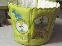 Bucket Bin - Embroidered, designs are through a magnifying glass - Smart Needle designs used for the panels - Bucket Bin from A Stitch A Half Magnifying Glass, Machine Embroidery, Clever, Bucket, Crafty, Stitch, Ideas, Design, Full Stop