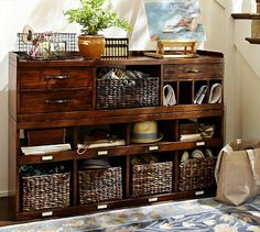 Olivia 2-Piece Bench & Organizer #potterybarn // put organizer on top of bench under clothes and between two closets?