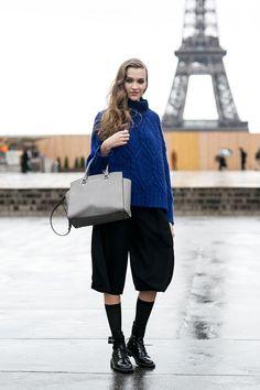 cobalt knit & culottes. Paris.