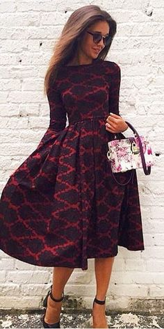 Vintage Long Sleeve Rhombus Print High Waist Ball Gown Dress For Women