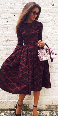 fc8a441ddb Vintage Long Sleeve Rhombus Print High Waist Ball Gown Dress For Women. AL  · Dresses   Skirts