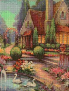 Vintage Wm Thompson Cottage Cross Stitch pattern PDF - Instant Download! by PenumbraCharts on Etsy