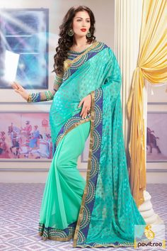 Explore the mystic beauty by wearing this turquoise and blue party wear saree for festival. Adorn with bright embroidered blouse with lace patti patterns.  #saree, #sarees, #partywearsaree, #designersaree, #onlinesaree, #partysaree, #festivalsaree, #occasionsaree, #womenfashionsaree, #embroiderysaree, #pavitraa, #pavitraafashion http://www.pavitraa.in/store/party-wear-saree/ Call Us : 917698234040
