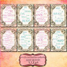 ALICE in WONDERLAND QUOTES digital collage sheet, Alice decoration party printable. $5.00, via Etsy.