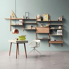Shelves with leather straps