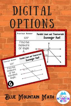 Looking for a fun, engaging activity that gets the kids moving and talking about math? In this resource, students practice finding the measures of angles formed by parallel lines and you can choose between a printed activity or digital (self-grading) activity. The problems contain vertical angles, supplementary angles as well as understanding the relationships formed by parallel lines cut by a transversal.