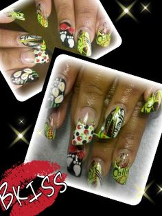 Freestyle design with 3D foot prints and lilies