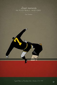 Great Moments in Football History Illustration Series great moments in football history series illustration kungfu kick manchester united eric cantona selhurst park But Football, Retro Football, Football Design, Vintage Football, Manchester United Legends, Manchester United Football, Manchester Art, Soccer Art, Soccer Poster