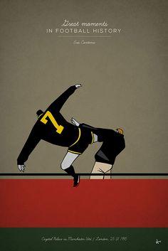 great moments in football history series illustration kungfu kick manchester united eric cantona selhurst park