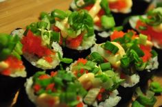 Homemade Sushi Roll... more good recipe ideas for easy homemade sushi! Yay! Saturday is going to be awesome.
