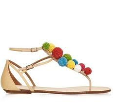 64.95$  Watch now - http://ali5ao.shopchina.info/1/go.php?t=32703907831 - Hot Selling 2016 Designer Pom-Pom Embellished Flat Raffia Sandals White and Multi-coloured Flip Sandals For Women Beach Shoes  #buyonlinewebsite