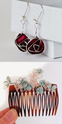 DIY 2 Nail Polishs Jewelry Tutorials from Emuse. I read through both tutorials trying to see how the nail polish filled in the spaces between the wire. But I guess it does - I haven't tried this. • Top Photo: DIY Stained Glass Rose Earings Tutorial...