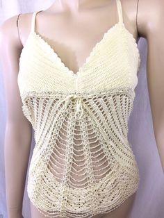 BCBGirls Sexy Top Size Medium Cream Off White Beaded See Through Clubwear NWOT #BCBGirls #TankCami #Clubwear