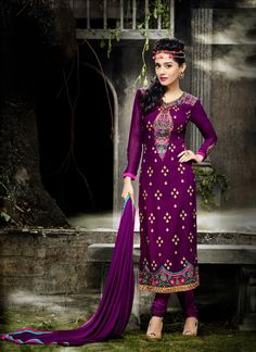 Ravishing Purple Georgette Party Wear Salwar Kameez