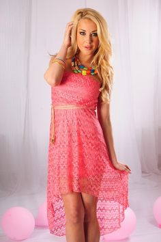 Lace high-low dress features a strapless top with elastic band, removable braided belt.