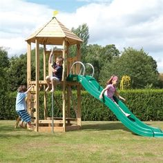 TP Castlewood Tower with Crazy Wavy Slide from our children's Climbing Frames range