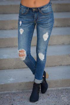 MACHINE Distressed Skinny Jeans - Layla Wash