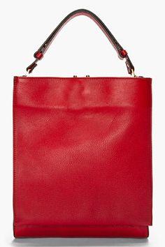 Marni Burgundy Leather Flap Pocket Shoulder Bag for women | SSENSE