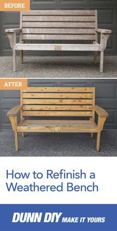 Give life to your bench with this step-by-step DIY guide. Refinish and stain your old wooden bench for a new look and perfect weekend DIY project. Wooden Garden Furniture, Outdoor Furniture Plans, Lawn Furniture, Metal Furniture, Furniture Decor, Rustic Furniture, Furniture Market, Street Furniture, Handmade Furniture