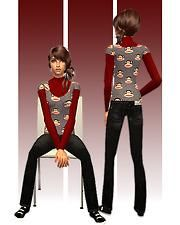 Mod The Sims - Paul Frank for Teens - Red Polo