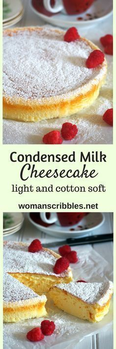 If you want a cheesecake that is light and creamy with just the right level of indulgence, try this condensed milk cheesecake and be delighted by its soft and delicate texture.(Baking Cheesecake With Condensed Milk) Easy Desserts, Delicious Desserts, Dessert Recipes, Yummy Food, No Bake Desserts, Cupcakes, Cupcake Cakes, Weight Watcher Desserts, Low Carb Dessert