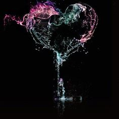 lights hitting water, fluidity, hearts.