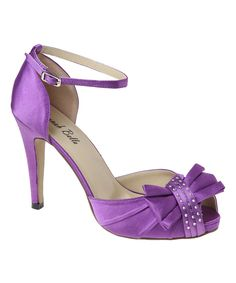 Another great find on #zulily! Platinum Purple Asymmetrical Bow Wide-Width Peep-Toe Pump by Platinum #zulilyfinds