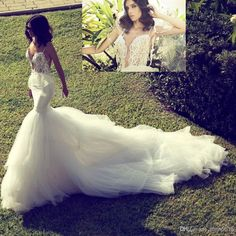 Wholesale Sheer Wedding Dresses - Buy 2014 Best Sexy Spaghetti Strap Corset Bodice See Through Mermaid Backless Wedding Dresses Deep V-neck Lace Tulle Chapel Train Wedding Gowns, $165.04 | DHgate
