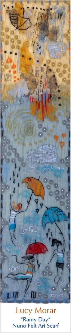 Rainy Day / Nuno Felt Art Scarf