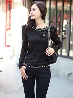 Ladylike Style Scoop Neck Long Sleeves Alloy Chain Collar Design Womens Lace Blouse