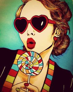 Girl with red heart shape sunglasses holding a multicolor swirl lollipop art