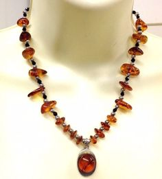 GENUINE AMBER STERLING SILVER HAND MADE PENDANT NECKLACE 925