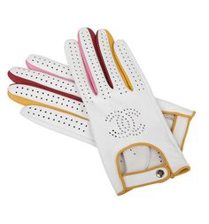 Chanel White Leather Driving Gloves