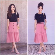 Skirt Outfits Modest, Modest Dresses, Chic Outfits, Girls Fashion Clothes, Modest Fashion, Fashion Dresses, Clothes For Women, Conservative Outfits, Casual Frocks